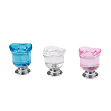 1Pc 30mm Clear Rose Glass Crystal Knob Furniture Kitchen Drawer Cabinets Handles Dresser Closet Pulls Hardware