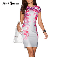 Floral Summer Dress 2016 Elegant Bodycon Women Dress New Arrival Fashion Casual Silver Purple Red Ladies