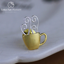 Jewelry Brooches Lotus Fun Pin 925-Sterling-Silver Designer Real Coffee-Cup Dating Handmade