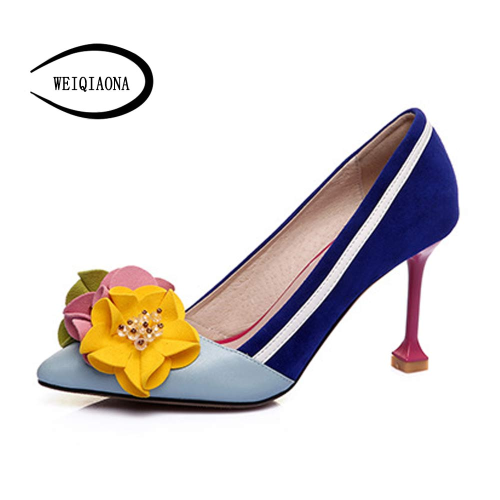 Four season Sweet flowers High Heel Shoes  Women Pumps Thin Heel  Shallow Lady shoes 7cm and 9cm heelsFour season Sweet flowers High Heel Shoes  Women Pumps Thin Heel  Shallow Lady shoes 7cm and 9cm heels