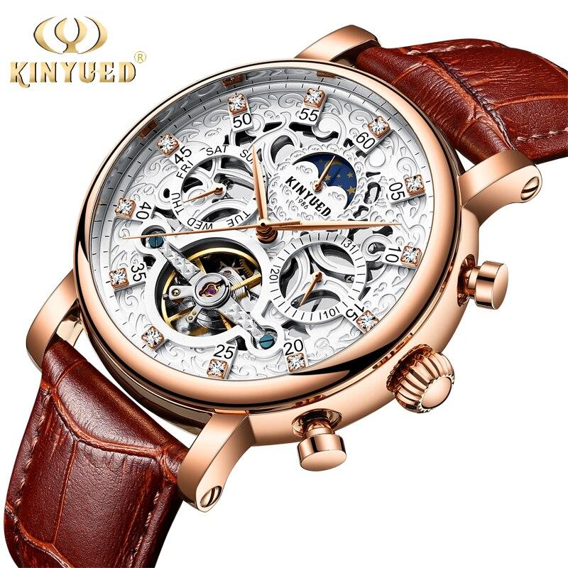 KINYUED Для мужчин Watch Automatic Moon Phase календарь Tourbillon Для мужчин s Скелет механические часы золотистые кожаные военные наручные часы