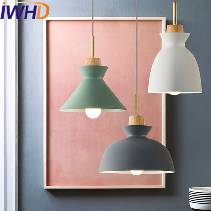 IWHD Iron Modern Pendant Lights Fixtures Wood Lamparas de techo colgante moderna Kitchen Luminaire Suspendu Home Lighting brand new 6181p 15tpxpdc touch screen glass well tested working three months warranty