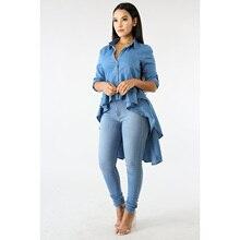 Fashion Layered Ruffles Denim Shirt 2019 Autumn New Women Long Sleeve Irregular Jeans Shirts Slim Fit Dovetail