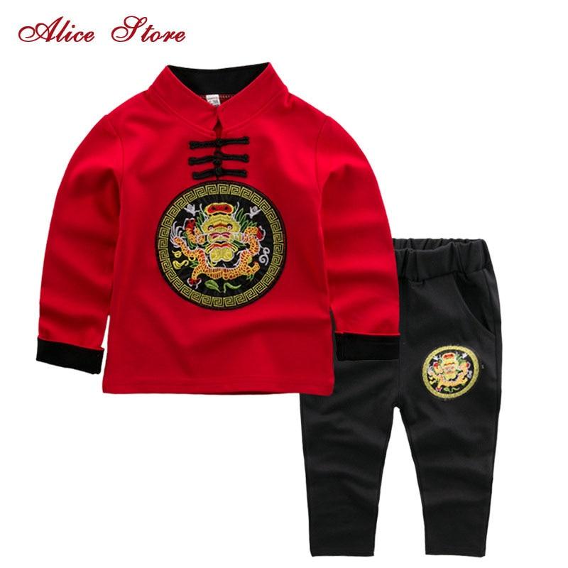 Chłopcy odzież ustawia 2017 chiński styl smok przycisk stoisko kołnierz niestandardowe płaszcze + spodnie dla dzieci garnitury zestaw ubrań dla chłopców