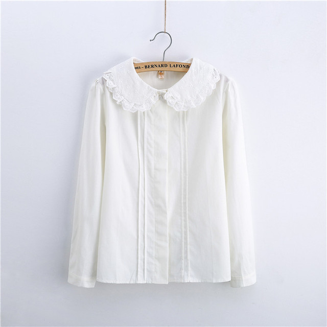 Cute lace blouse peter pan collar ruched white blouse for for White cotton shirt peter pan collar