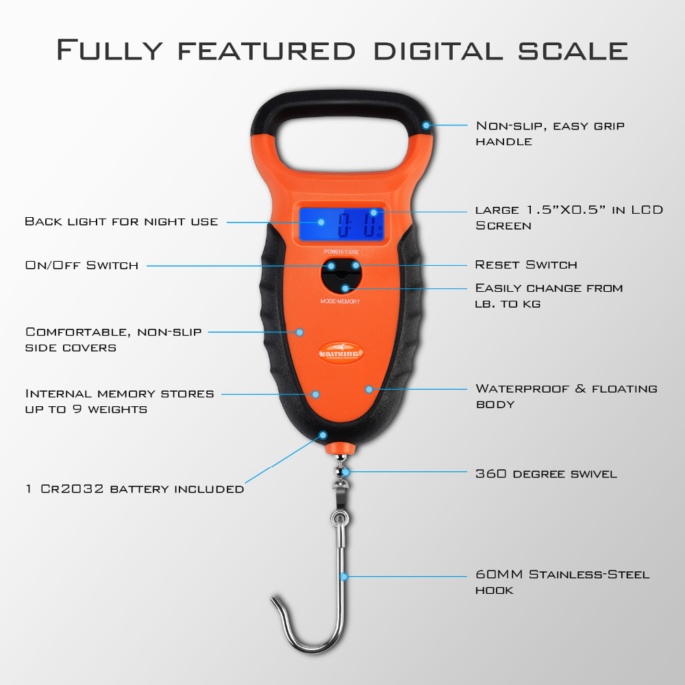 Kastking Waterproof Floating Digital Scale Dual Mode Pounds Ounces Kilograms Non Slip Handle Includes No Puncture Lip Gripper In Fishing Tools From Sports