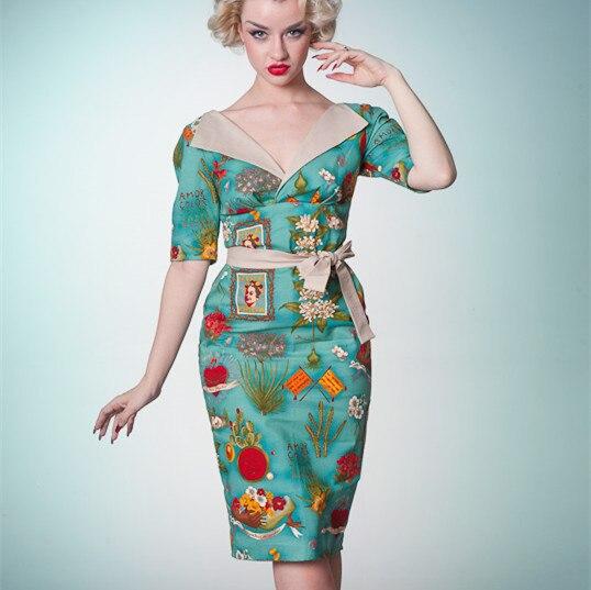 Summer Women Vintage 40s Blue Frida Kahlo Emblems V Neck Wiggle