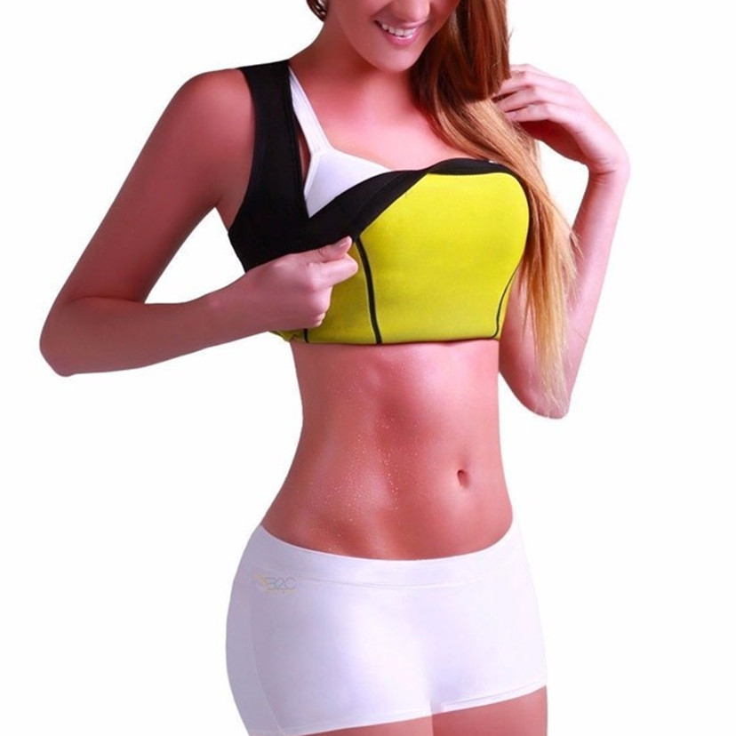 2018 Hot Sale New Women's Neoprene Sexy Black Yoga Vest Bras Sports With Waist-trimmer Slimming Shirts Fitness Running Tank Tops