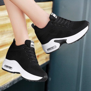 Image 4 - WADNASO Flying Knitting Fashion Sneakers Women Hide Heels Casual Shoes Breathable Platform Sneakers Wedge White Shoes XZ120
