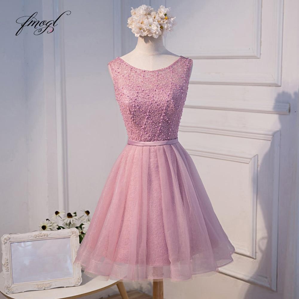 Fmogl Elegant Beading Knee Length Homecoming Dresses 2019