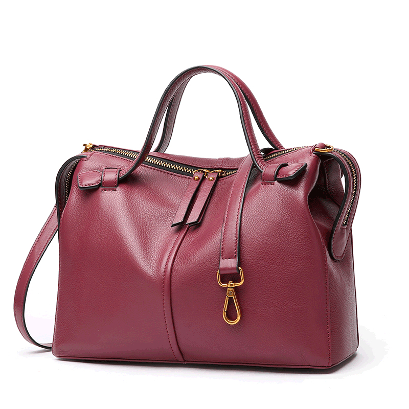 Women's new first layer leather cross-section bag handbag Boston leather cross-body style cross-body bag golden cross beach cross body jewelry