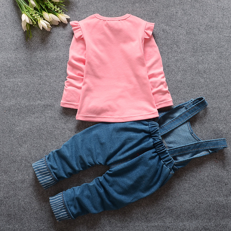 Image 3 - 2020 New Hot Spring Baby Girls Clothing Set Children Denim overalls jeans pants + Blouse Full Sleeve Twinset Kids Clothes Setpants spandexpants femalepants nylon -