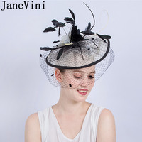 JaneVini Black Wedding Hats and Fascinators With Net Veil Ladies Fashion Hats Hair Pin Feathers Bridal Bride Wedding Party Hat