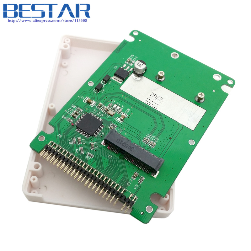 (50 pieces/lot) mSATA mini PCI-E SATA SSD to 2.5 inch IDE 44pin Notebook Laptop hard disk case Enclosure White low profile msata mini pci e sata ssd to 2 5 ide 44pin adapter card