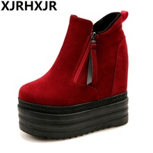 2017 High Quality Women Boots Winter Casual Brand Warm Height Increase Shoes Women Leather Suede Platform Boots Woman Pumps
