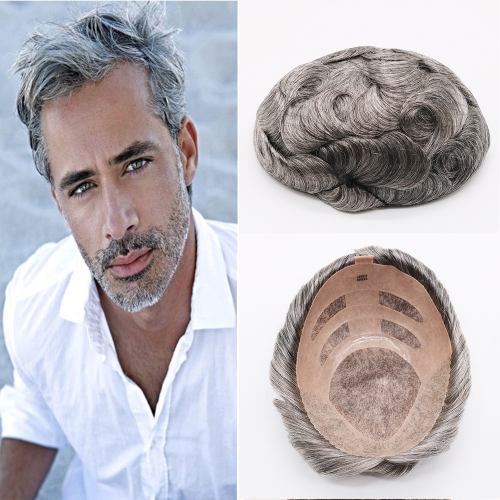 Eversilky Коричневый и серый цвет моно кружева накладки руки связали шиньоны человеческих волос Замена накладки