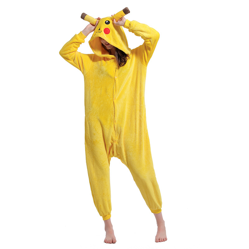 New Unisex Picachu Cartoon Animal Pyjamas Jumpsuit Cosplay Costume Sleepwear
