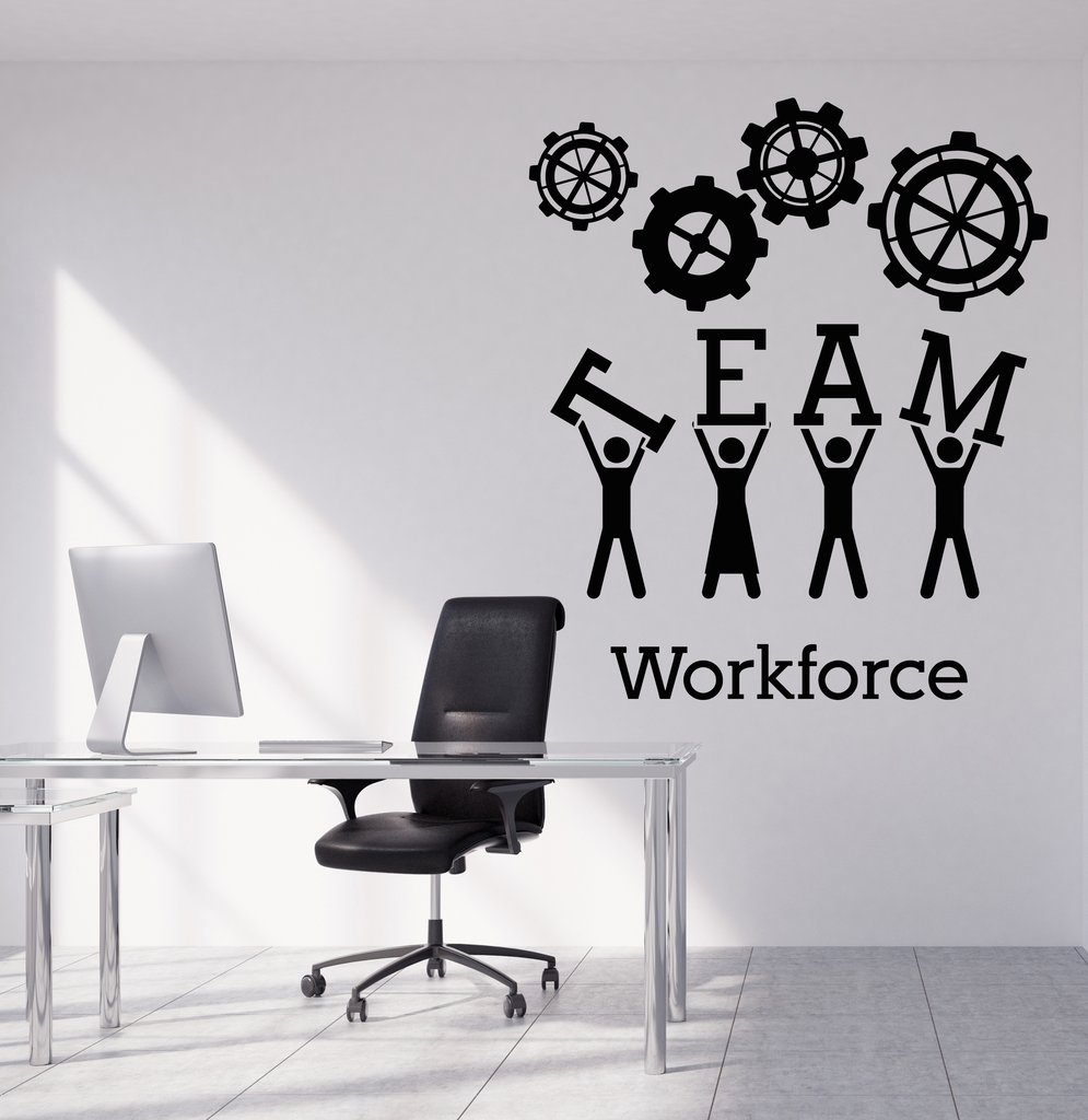 team business work wall sticker vinyl decals teamwork office interior decoration creative black. Black Bedroom Furniture Sets. Home Design Ideas