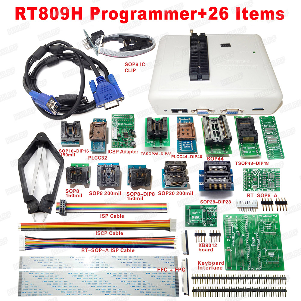 Universal RT809H EMMC Nand FLASH Programmer 26 Items SOP8 flash Adapter EMMC NAND NOR better than