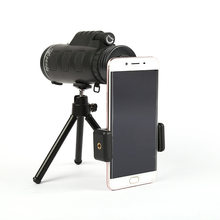 2019 BAK4 40X60 Monocular Telescope HD Mini Monocular Outdoor Hunting OPTICS Camping Scopes With Compass Phone Clip Tripod(China)