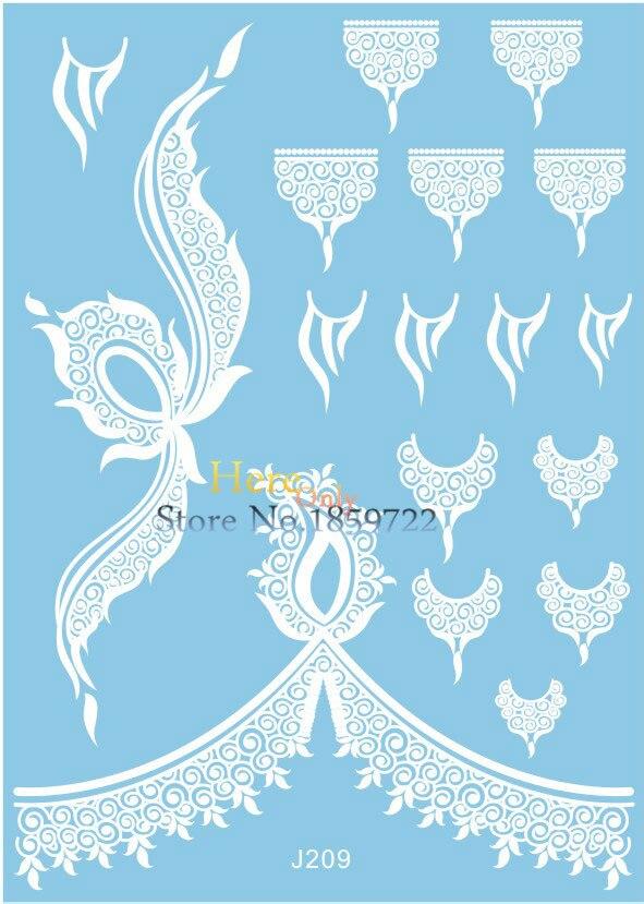 Lace Hot Henna branco temporárias tatuagem sickers para maquiagem Design de jóias HJ209 rainha coroa de seda de casamento da noiva estilo frete grátis