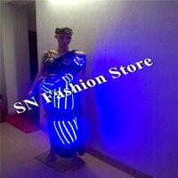 SN82-3 Colorida luz LED trajes de baile sexy vestidos de baile de las mujeres ropa de uniforme Del Ejército soilder modelo etapa dj discoteca wear