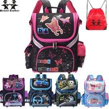 Mochila escolar infantil de borboleta wenjie, bolsa dobrável de eva para crianças, ortopédica, para meninos e meninas
