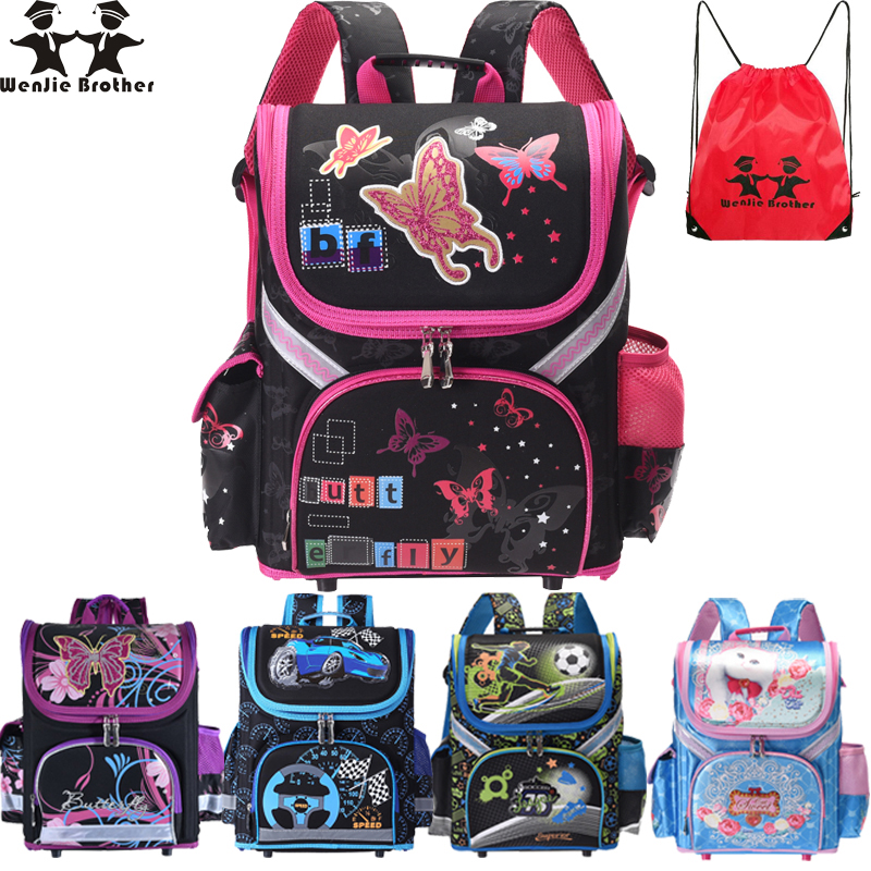 Wenjie Brother Kids Butterfly Schoolbag Backpack EVA Folded Orthopedic Children School Bags For Boys And Girls Mochila Infantil