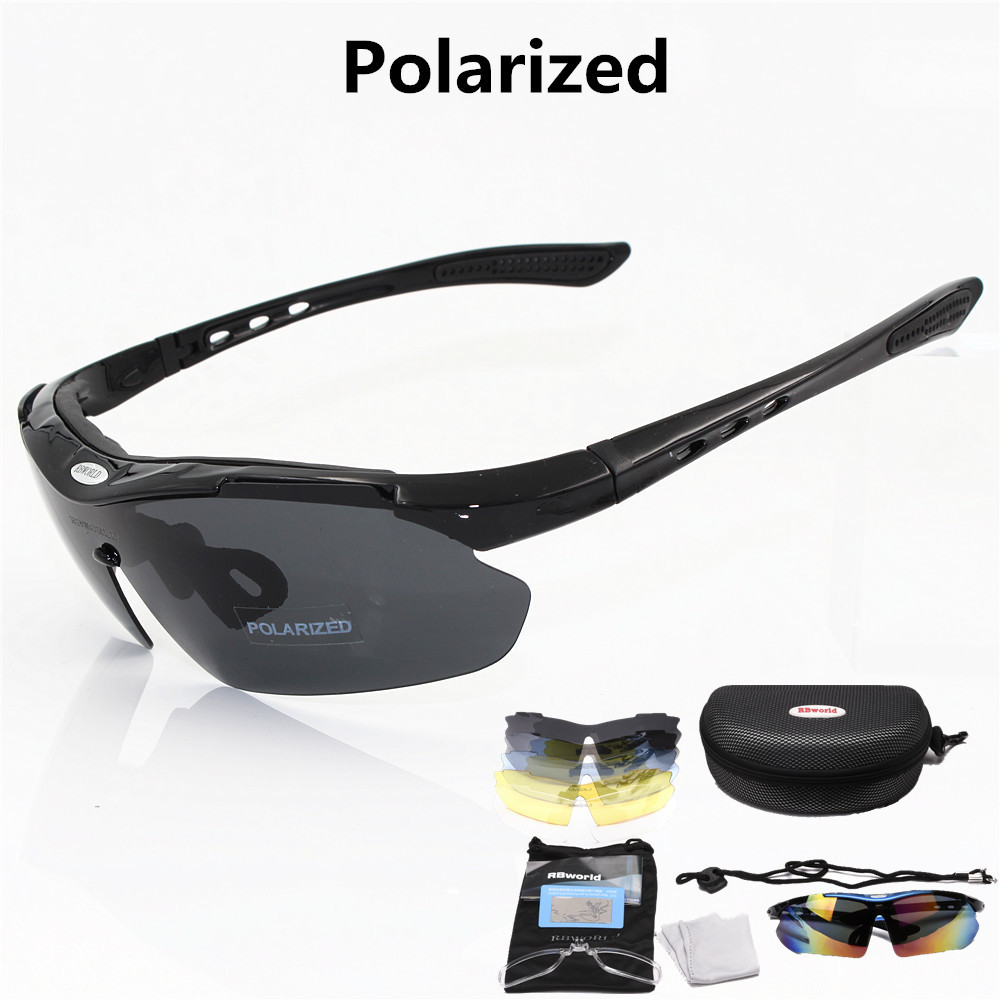 Professional Polarized lens Cycling Glasses Bike Goggles Outdoor Sports Bicycle Sunglasses UV400 With 5 Lens Running glasses kallo 99151 outdoor sports grey lens uv400 polarized sunglasses black