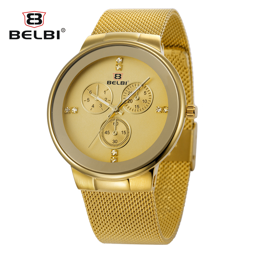 2016 Belbi Fashion Quartz Watch Men Stål Möss Armbandsur Herr Quartz-Watch Tillfälligt Armbandsur Super-Thin Clock Relojes Hours