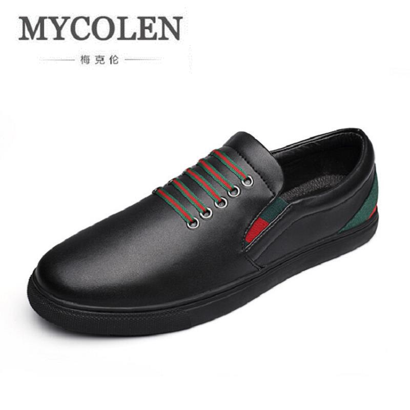 Mycolen Noir Qualité Lacent Cuir En Zapatillas Noir Hommes Casual Chaussures De Marque Européenne Mode Haute Style Blanc blanc Sneakers VMqSzpU