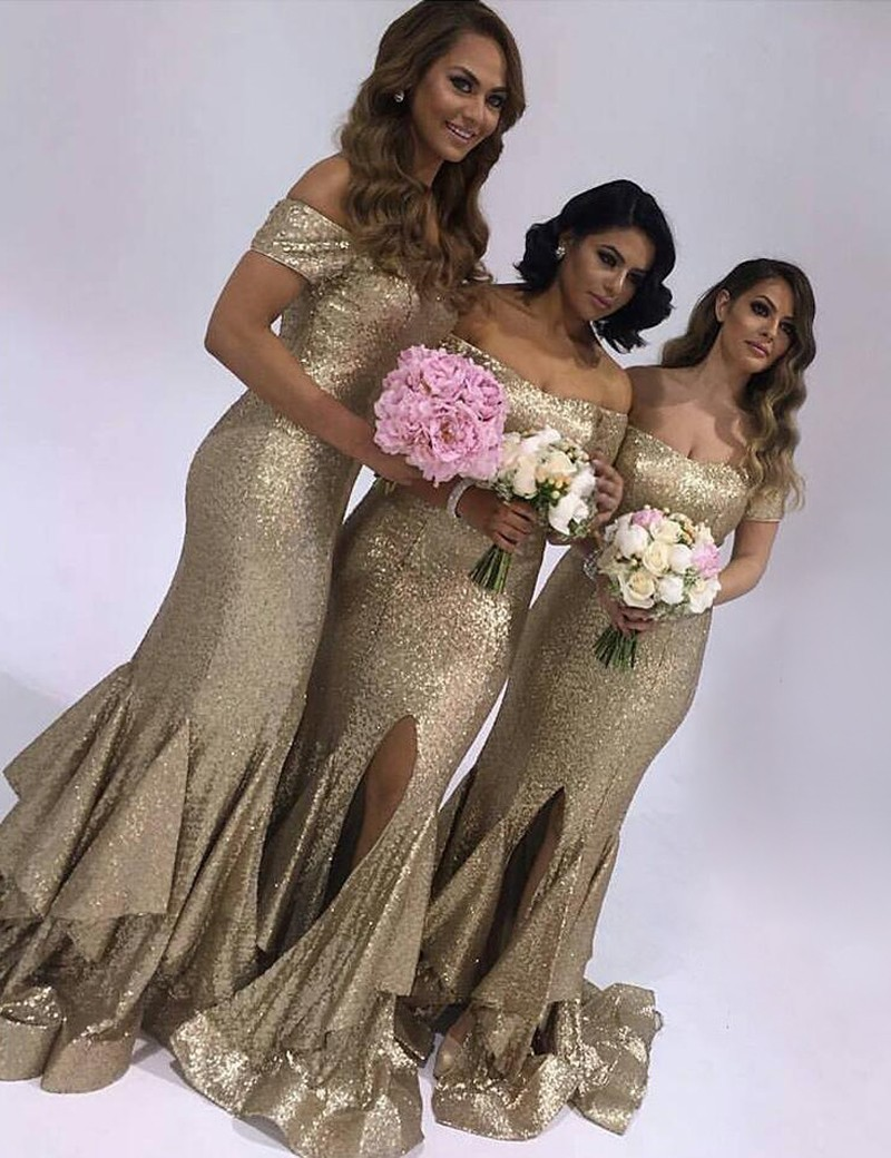 New Beautiful Champagne Bridesmaid Dress Front Slit Sequin Wedding Party Gowns vestido madrinha