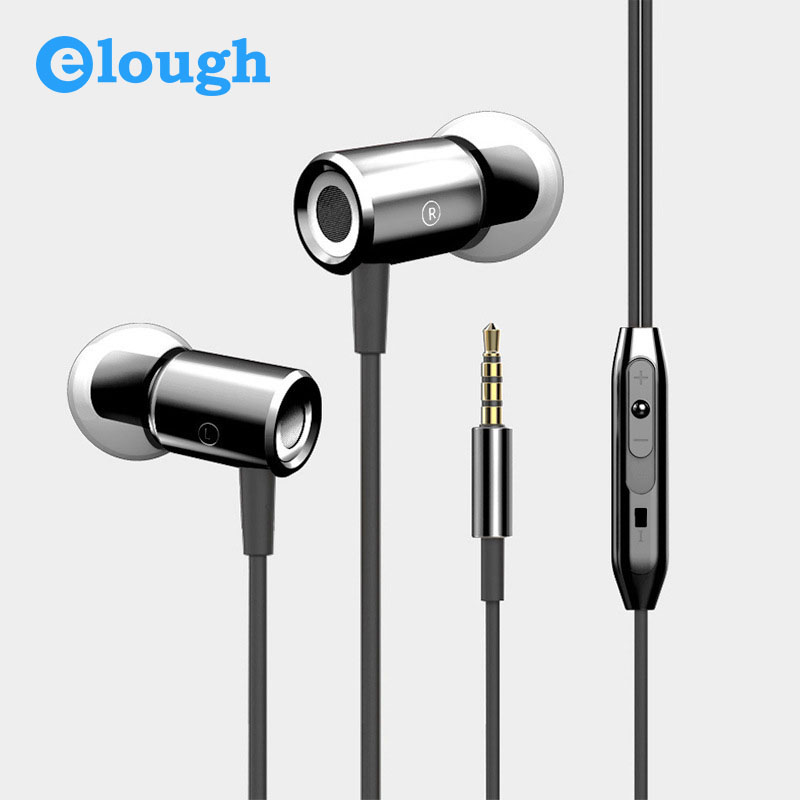 Elough Professional In Ear Earphones For Phone Heavy Bass Headphone With Microphone Metal Stereo Earpiece Earbuds Airpods Earpod glaupsus gj01 in ear 3 5mm super bass microphone earphones earplug stereo metal hifi in ear earbuds for iphone mobile phone