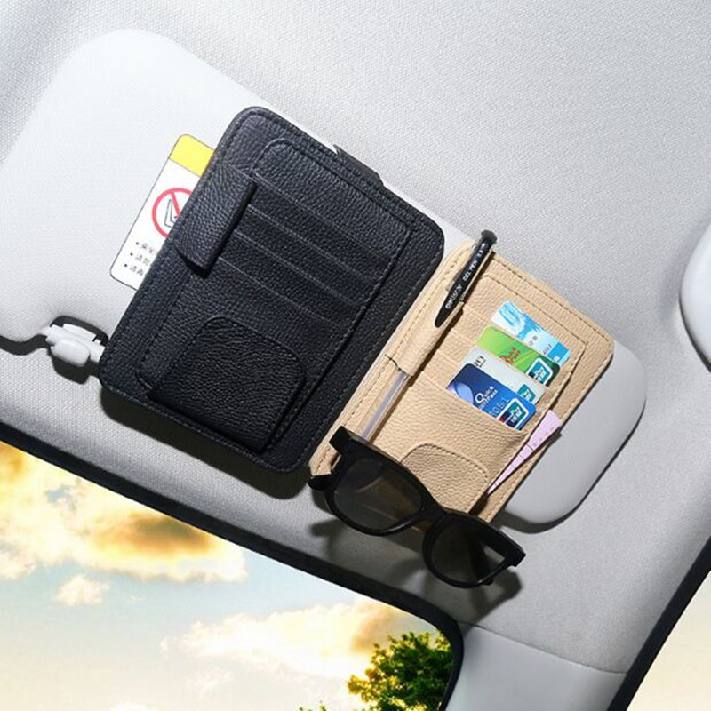 Car Sunglasses Credit Card Pen Holder Clip Multifunctional Storage Bag For Nissan Qashqai j11 Juke X-trail T32 Tiida Note etya bank credit card holder card cover