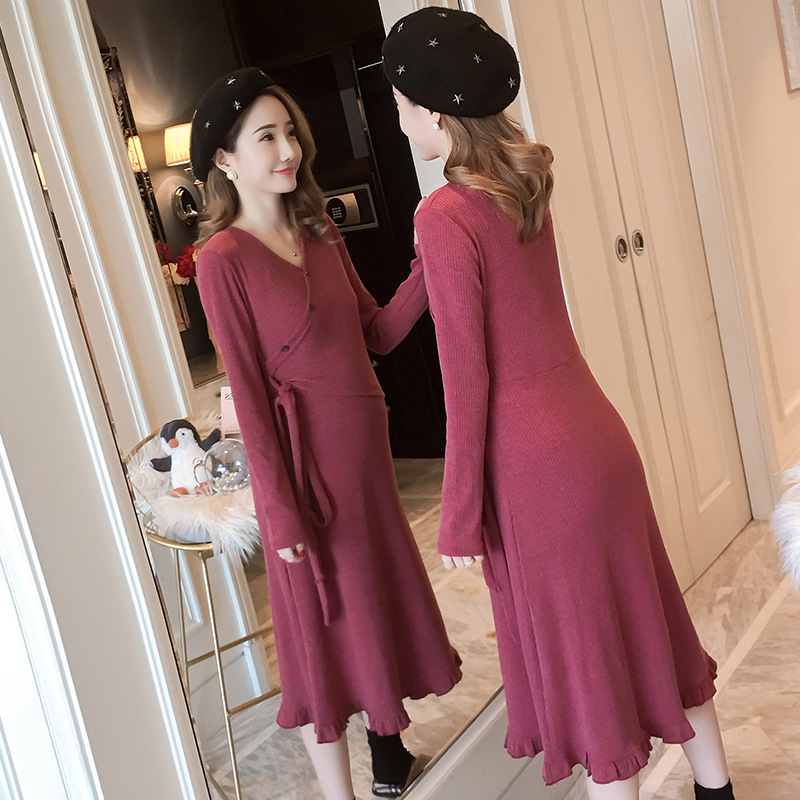 Fahsion Slim Maternity Breastfeeding Dresses Elegant Autumn Winter Pregnancy Nursing Dresses for Pregnant Women Knitted SweaterFahsion Slim Maternity Breastfeeding Dresses Elegant Autumn Winter Pregnancy Nursing Dresses for Pregnant Women Knitted Sweater