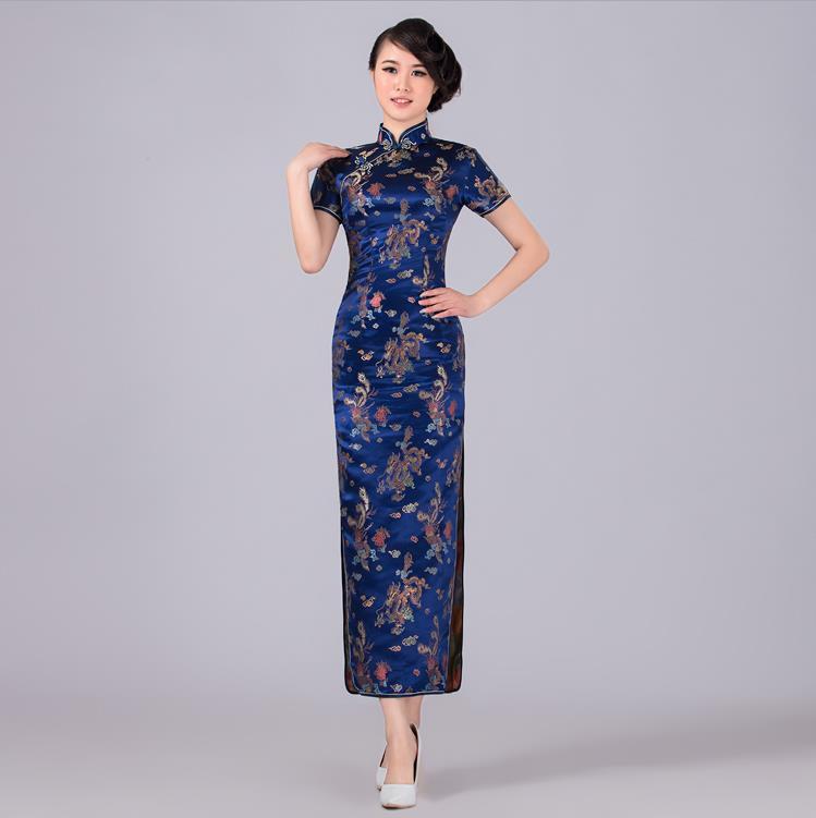Chinese National Trend Satin Cheongsam Vintage Halter Long Qipao Evening Dress Oversize S M L XL XXL XXXL 4XL 5XL  6XL CJ092