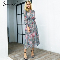 Simplee Elegant Floral Print Long Dress Women Two Piece Maxi Chiffon Dress Autumn Casual High Waist