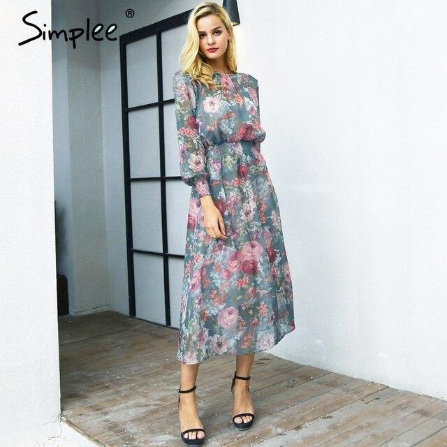 Simplee Элегантный цветочный принт длинное платье женские комплект из двух предметов Макси Шифоновое Платье Осень Повседневное Высокая талия упругие Круглая горловина платье Женский