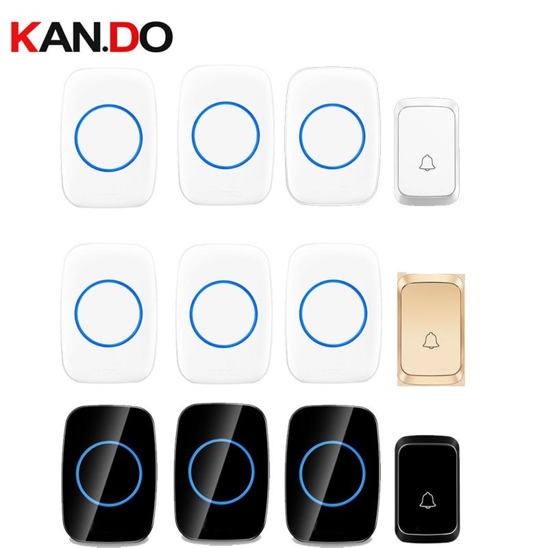 Home Ring Sets With 3 RX Different Colors Wireless Door Bell RX By AA Battery Wireless Doorbell Ip44  300M Door Chime Door Ring