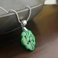 Real Pure 925 Silver Pendant For Women With Ruyi Jade Natural Stones Ethnic Pendant Necklace Joyas De Plata 925