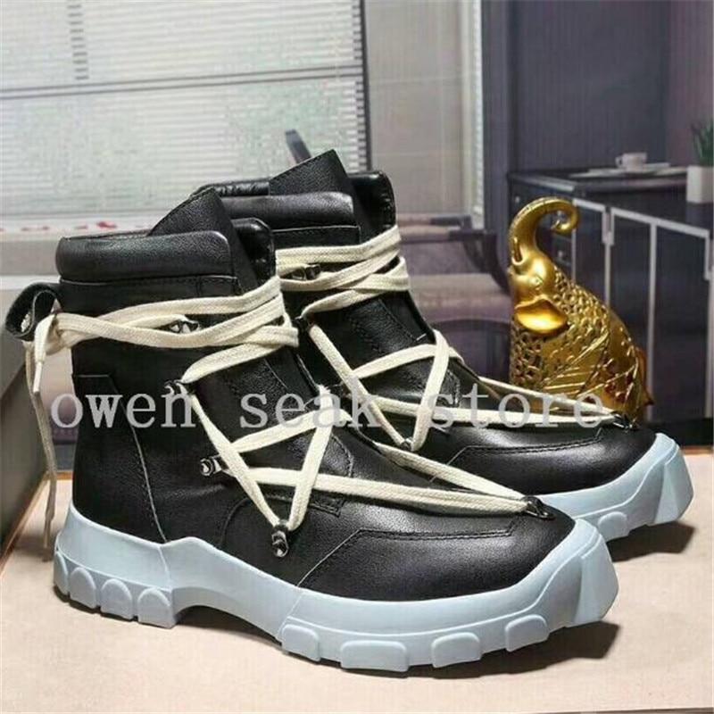 Botas De Zip Planos Owen plata Negro Alta Negro zip Hombres Encaje Casual Botines zip 2018 Lujo Genuino Superior Zapatos Zapatillas Cuero Seak 47wxIZC
