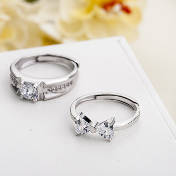 Sterling Silver Cubic Zirconia Couples Ring Set 5