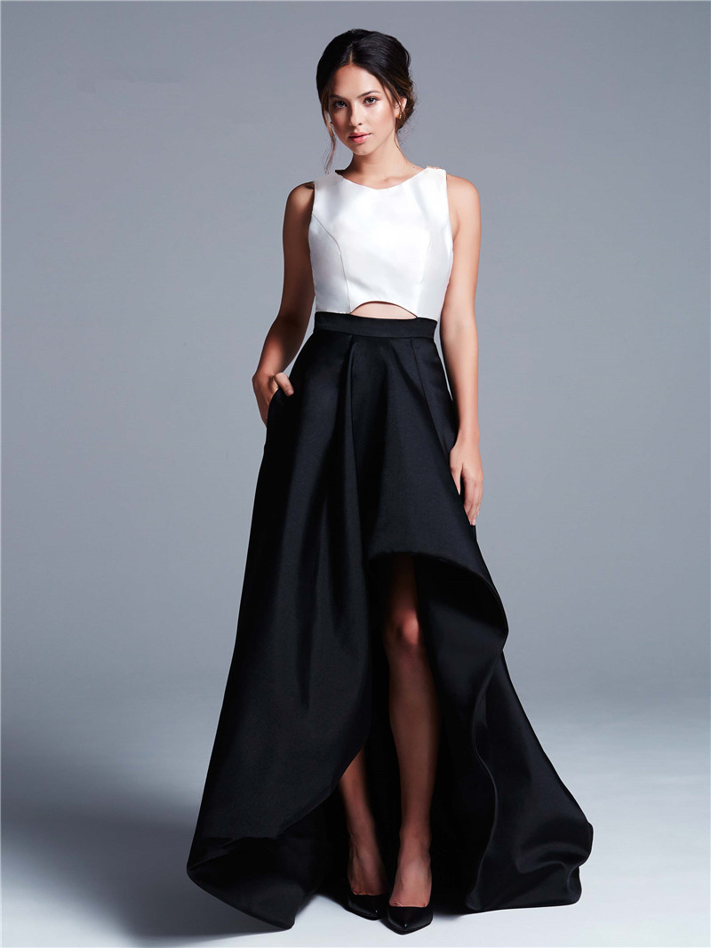 Long Prom Dresses Short in Front and Back in Black Teal