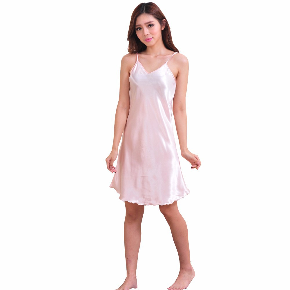 Ladies Sexy Silk Satin Night Dress Sleeveless Nighties V-neck Nightwear For Women Nightgown Plus Size Nightdress Sleepwear 4