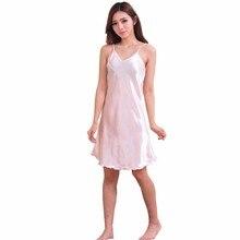 Ladies Sexy Silk Satin Night Dress Sleeveless Nighties V-neck Nightwear For Women Nightgown Plus Size Nightdress Sleepwear