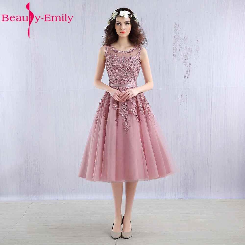 20cd0272f25 Красота Эмили платье для выпускного вечера украшенный розовым бисером 2019  Кружево Аппликации Элегантные вечерние платья короткие