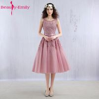 2016 Dust Pink Beaded Lace Appliques Short Prom Dresses Robe De Soiree Knee Length Party Evening