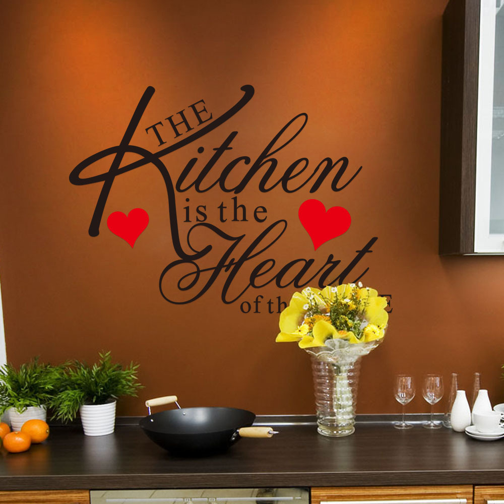 The Kitchen Is The Heart of The Home Mural Kitchen Removable Simple PVC Wall Stickers Art Room Decor Decal Sticker