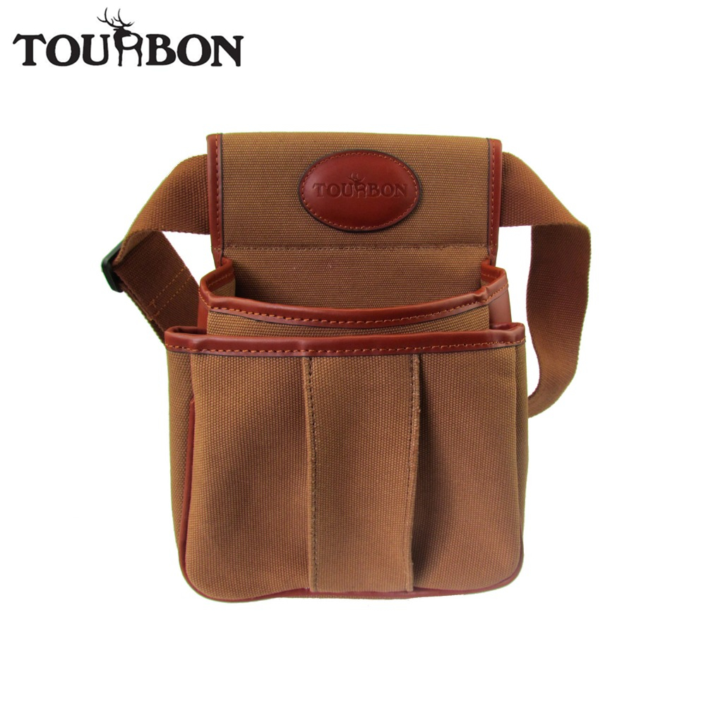 Tourbon Hunting Tactical Gun Cartridges Bag Shooting Ammo Shells Case Durable Canvas Leather Pouch with Two Pocket Maxium 56'' 2016 tourbon design tactical handgun magazine carry bag canvas with pu pistol case zippered black pouch wholesale