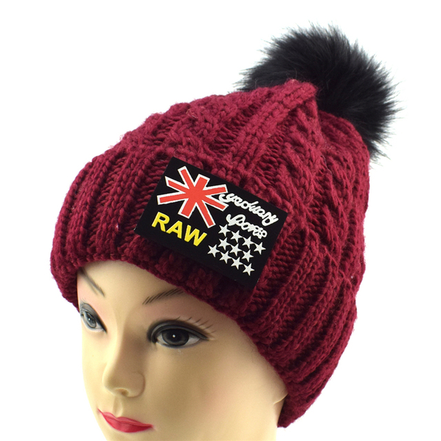 New Parent-Child Pom Poms Hat British flag Beanie Women Winter Hats Girls  Skullies Snow Caps Knitted Hats Ski Cap Velvet 6b598e16db8